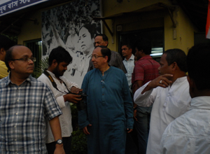Leaving the campaign office in Jadavpur, 9 April.