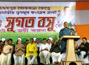Manish Gupta, Jadavpur MLA and Minister for Power in the West Bengal government, addresses a karmi sabha at Jadavpur Assembly constituency.