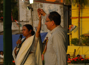 Chief Minister Mamata Banerjee and Sugata Bose at Sonarpur Rally 26 Apr 2014.