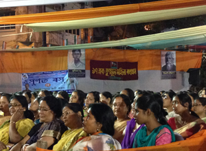 Workers listen to Rabindra Sangeet in Tollygunge.