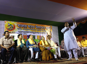 Tollygunge MLA and Minister for Housing in the West Bengal government Aroop Biswas addresses Tollygunge karmi sabha.